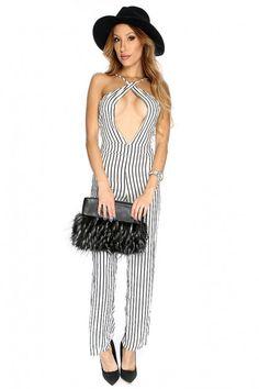Sexy White Black Stripe Print Sleeveless Halter Jumpsuit