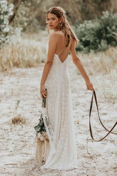 Shop affordable Lace Spaghetti V-neck Sheath Wedding Gown With Straps And Open Back at June Bridals! Over 8000 Chic wedding, bridesmaid, prom dresses & more are on hot sale. Wedding Dresses For Sale, Bohemian Wedding Dresses, Designer Wedding Dresses, Wedding Gowns, Modest Wedding, Wedding Dress Casual, Wedding Sundress, Lace Wedding, Casual Bride