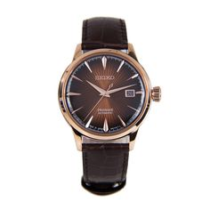Seiko Mens Presage Automatic Rose Gold Stainless Steel Leather Watch - Landscape Art - Ideas of Landscape Art Gents Watches, Seiko Watches, Casual Watches, Seiko Automatic, Automatic Watches For Men, Seiko Presage, Seiko 5 Sports, Leather Watch Box, Seiko Men