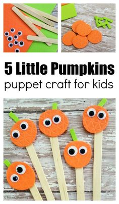 Halloween Crafts For Toddlers, Fall Crafts For Kids, Thanksgiving Crafts, Toddler Art, Toddler Crafts, Five Little Pumpkins, Fall Arts And Crafts, Puppets For Kids, Puppet Crafts