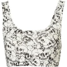 All Over Skull Bralet ($10) ❤ liked on Polyvore featuring tops, shirts, crop tops, bralets, skull shirt, crop shirts, white cotton tops, white top and bralette tops