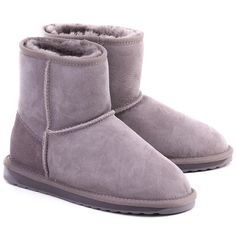 EMU Stinger Mini Ash - Szare Zamszowe Kozaki Damskie #mivo #mivoshoes #shoes #buty #emu #winter #suede #cold #weather #boots #grey #colors #fashion #popular #style #stylish #new #collection #newcollection #snow #2015 #2016