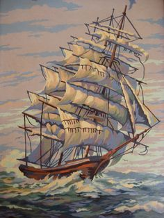 SALE Pirate Ship paint by number painting by goldmineaz on Etsy, $22.00