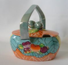 Vtg Art Deco Lustre Japan Marmalade Jam Jelly Jar Basket Shape Hand Paint Fruit In perfect excellent vintage condition-like shiny brand new been in a time capsule! Marmalade Jam, Jelly Jars, Tiffany Blue, Luster, Planter Pots, Art Deco, Basket, Hand Painted, Japan