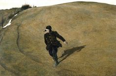 "Andrew Wyeth, ""Winter 1946"". This depicts a lone neighbourhood boy running down a hill within sight of the Chadds Ford railroad crossing where Wyeth's father had been killed the previous year. This was the first painting he did after his father's death."
