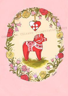 Dala Horse Scandinavian Valentines Set of 5 by bluebirdiesinger, $9.50