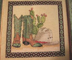 "Cowboy Cross Stitch Patterns Free | Cross Stitch ""Western Still Life"" Pattern Cowboy Boots Cactus Cowboy ..."