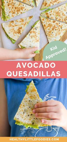 Avocado Quesadilla Crispy on the outside and deliciously creamy on the inside, this Avocado and Cheese Quesadillas make a tasty vegetarian lunch that your kids are sure to love! Easy to make and customise, keep the recipe as is or choose one of the veggie Avocado Quesadilla, Quesadillas, Healthy Quesadilla, Avocado Hummus, Guacamole, Avacado Lunch, Avacado Snacks, Cheese Quesadilla Recipe, Avocado Food
