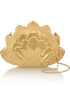 Charlotte Olympia Lotus brass clutch | NET-A-PORTER