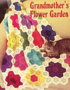 Vintage Crochet Grandmas Flower garden Afghan by LittleGalsStudio, $2.50