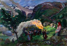"""lilacsinthedooryard: """" Nikolai Astrup (Norway, 1880-1928) Midsummer Eve Bonfire 1915 """""""