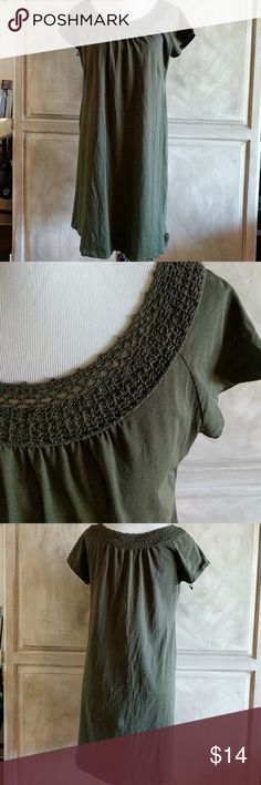 """Jones New York Sport dress Long t shirt dress with crochet detail around the neck. Midi about 35"""" long and 18"""" armpit to armpit. Army green color. Soft and strechy.. new condition! Jones New York Dresses Midi"""