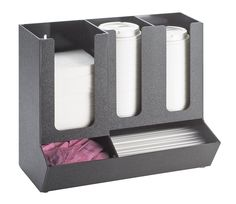 Classic Black Cup and Lid Organizer Item: 1013. Keep your stations clean and free of clutter with this classic cup and lid organizer that features a black durable ABS body with compartments for napkins, cups, lids, straws, and packets. http://www.calmil.com/index.php?page=shop.product_details&flypage=flypage.tpl&category_id=4&product_id=21&option=com_virtuemart&Itemid=50