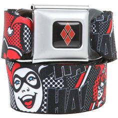 Hot Topic DC Comics Harley Quinn Ha Ha Seat Belt Belt ($20) ❤ liked on Polyvore featuring accessories, belts and buckle belt