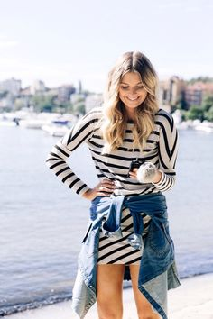 striped dress with denim