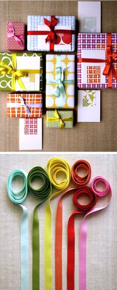 gorgeous wrapping paper and ribbon...want the presents I give to look like this.