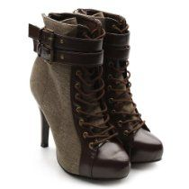 Ollio Women's Winter Lace Ups Military Ankle Boots Buckle High Heels Shoes