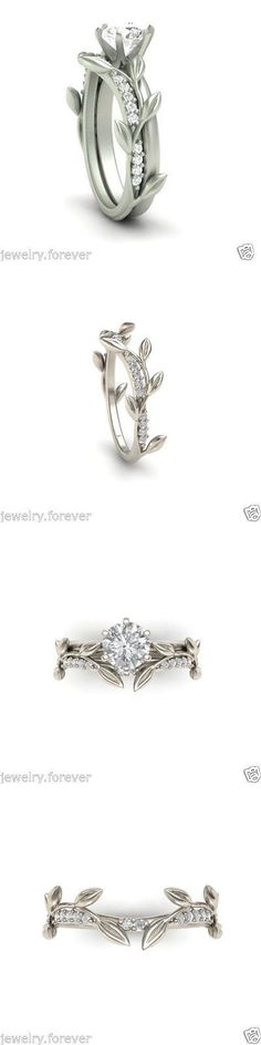 Wedding rings: Certified 2.15Ct Round White Diamond Natural Leaf Engagement Ring 14K White Gold -> BUY IT NOW ONLY: $255 on eBay!