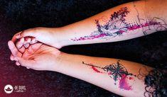 Tattoo aquarela: Pássaro Trash Polka ~ De duas, uma | Design, Ilustrações e Tattoos