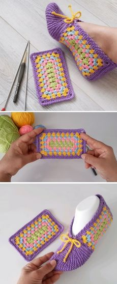 Make Slippers from Crocheted Square - Design Peak - Crochet - Chaussons chaussures Hausschuhe Sac Granny Square, Granny Square Slippers, Point Granny Au Crochet, Knitted Slippers, Crochet Slippers, Knitting Patterns, Crochet Patterns, Crochet Ideas, Easy Patterns