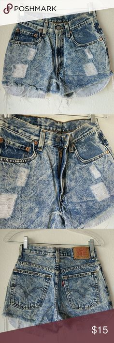 "Levis Hi Rise Waisted Shorts Vintage Levis distressed. Acid wash. 100% cotton  Waist: 12.5"" Hip: 14.5"" Front rise: 11"" Levi's Shorts Jean Shorts"