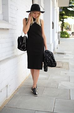 Outfit: Black midi dress | Saritschka midi dress, black outfit, black dress, lackschuhe, schnürer, midi kleid outfit, fedora hat, hut outfit