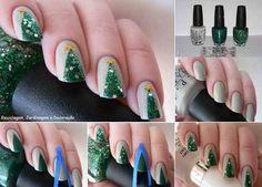 Christmas tree glitter nails