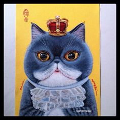 """Hi friends,  First painting of """"50 Meow Project"""" has completed :)  Artist: Ng Ling Tze Title: Braddie Medium: Acrylic On Canvas Size: 29.7cm x 21cm  Year: 2014  Project links:  https://www.facebook.com/events/1510450782536747/  and  http://slothstudio.com/portfolio/50-meow-project/  Thank You for viewing :)"""