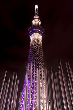 Tokyo Skytree displaying Miyabi, the aesthetic sense, expresses an elegant and dignified image of the tower by showing its intricate steel structure. The theme color is Edo purple shining with a well-balanced sprinkle of gold foil-like lights. Interesting Buildings, Amazing Buildings, Amazing Architecture, Beautiful World, Beautiful Places, Places To Travel, Places To Go, Culture Art, Tokyo Skytree