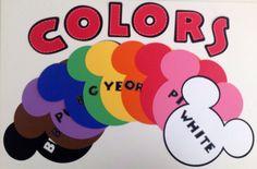 Preschool Kindergarten Classroom Disney Mickey Minnie Mouse Classroom Color Chart