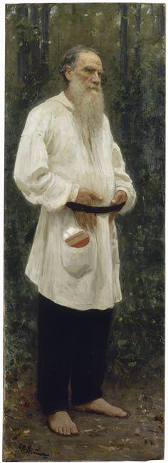 Ilya Repin (Russian 1844–1930) [Realism, Peredvizhniki] Lev Nikolayevich Tolstoy shoeless, 1901. Oil on canvas. 207 × 73 cm. The State Russian Museum, St. Petersburg.