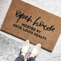 Your place to buy and sell all things handmade - Custom Open House Doormat / Custom Door Mat / Realtor Gifts / Housewarming / Open House -
