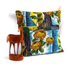 Retro Turquoise Flower 50s barkcloth  vintage fabric cushion £25.00