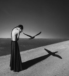 The Dark, Elegant Self Portraits Of Noell Oszvald (Lauren thinks this guy just waited until a bird came and had perfect timing for this photo)