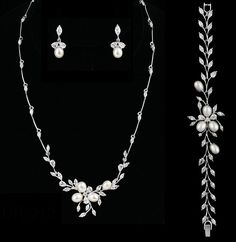 Fabulous savings on this exquisite Freshwater Pearl and CZ Wedding Jewelry Set with matching Bracelet - sale! - Affordable Elegance Bridal -