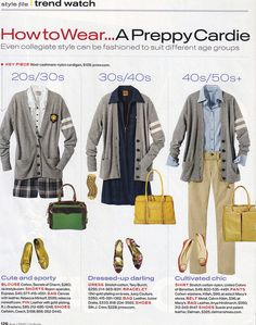InStyle Style File - Trend Watch - How to Wear a Preppy Cardigan - Aug 2007