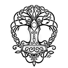 Yggdrasil by Leliumoj on DeviantArt - Thor's hammer tattoo . Yggdrasil von Leliumoj auf DeviantArt – Thors Hammer Tätowierung Yggdrasil by Leliumoj on DeviantArt – Thor's hammer tattoo – Fenrir Tattoo, Norse Tattoo, Celtic Tattoos, Viking Tattoos, Tattoo Maori, Warrior Tattoos, Celtic Knot Tattoo, Wiccan Tattoos, Inca Tattoo