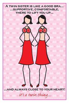 Twin Sister Bra Birthday Card
