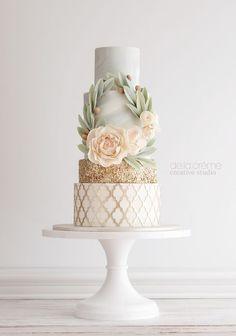 Elegant mint, peach, and gold cake. Created by De la Creme Studio.