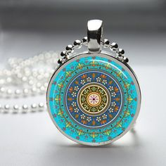 Hand crafted Round Glass Pendant with Silver tray 2.5cm by tootsun