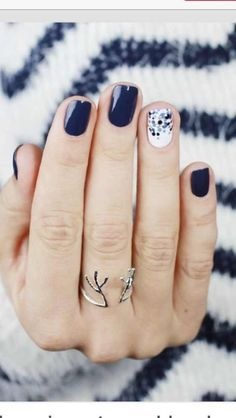 Navy and light blue nails. polka dots, preppy manicure