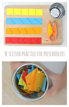 Scissor Practice for Preschoolers... One of those magical activities that captivate young ones! ( I like these scissors)