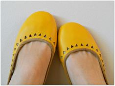 AZTEC Ballet Flats  Leather Shoes  39 Mustard Leather by Lolliette