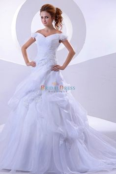 A-line V-neckline Off The Shoulder Chapel Train White Wedding Dress With Hand-made Flowers