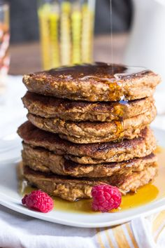 Healthy Applesauce Oatmeal Pancakes