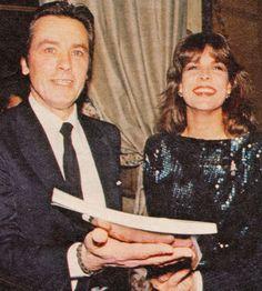 Princess Caroline of Monaco with French actor Alain Delon in Paris.December,1983.