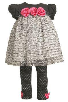Amazon.com: Bonnie Jean Girls 2-6X blusa de punto con volantes y Conjunto Legging de punto, 2T Negro / Blanco,: Ropa