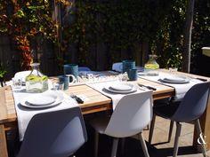IKEA servies en tafellopers!!love it! Grey & White Garden!! Styling by & Other Stuff.Interiors