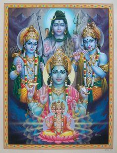 "Lord Brahma Vishnu Shiva Rama Krishna - POSTER - 15""x20"""