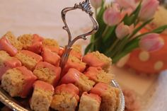 Pink Chocolate Covered Rice Krispie Treats, tea party dessert. They look like petit fours.